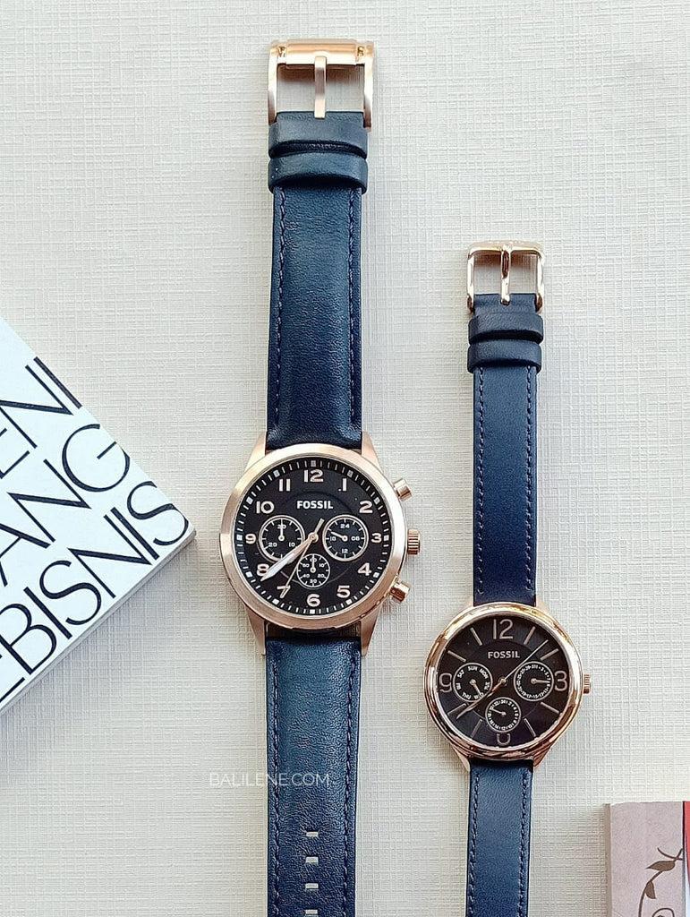Fossil Bq2186set His Chronograph And Her Multifunction Navy Leather Watch Gift Set