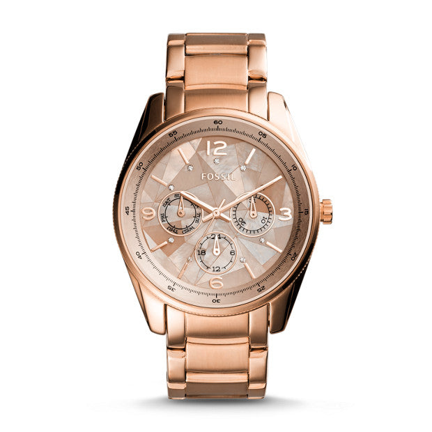 Fossil BQ3100 Justine Multifunction Stainless Steel Rose Gold Watch