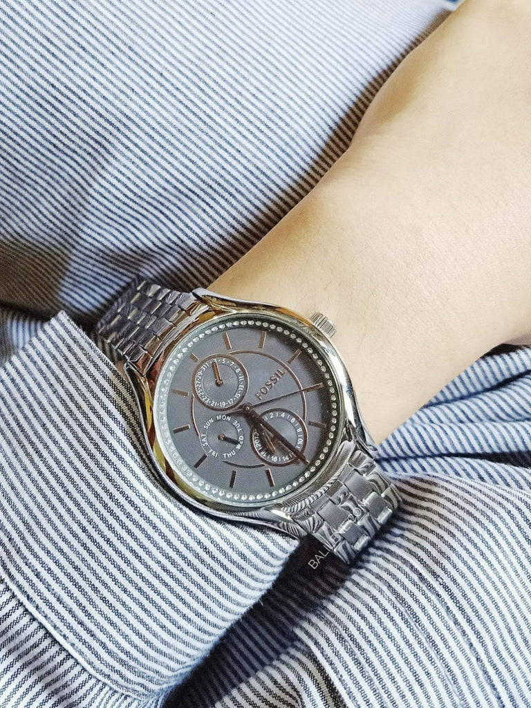 Fossil Bq3165IE Silver Crystal Multifunction Bracelet Watch