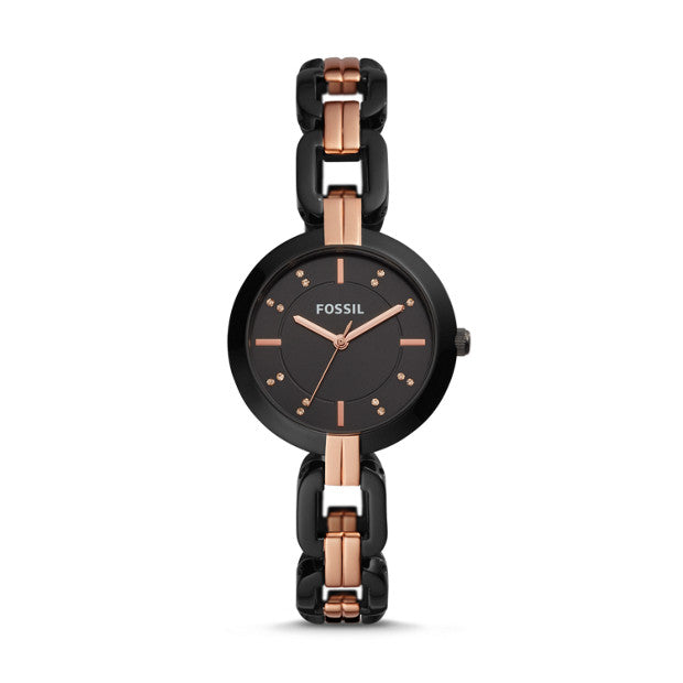 Fossil Bq3437 Kerrigan Black Rose Gold Three-hand Two-tone Stainless Steel Watch