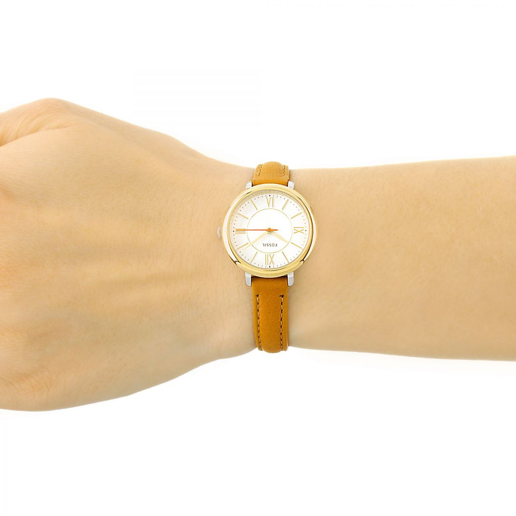 Fossil ES3801 Jacqueline Mini Dial Silver Tan Leather Ladies Watch
