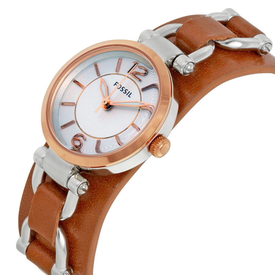 Fossil ES3855 Georgia White Dial Brown Leather Watch