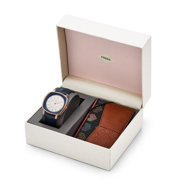 Fossil ES4248SET Idealist Three-Hand Watch and Card Case Box Set
