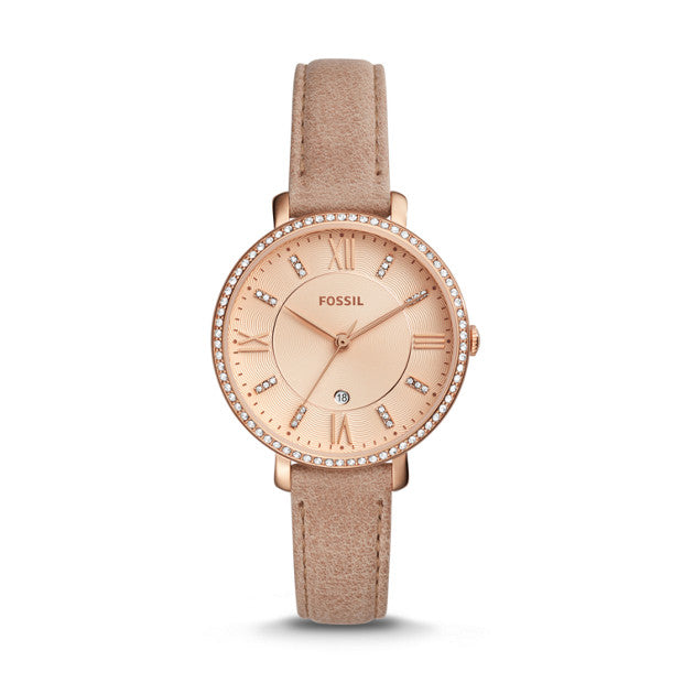 Fossil Es4292 Jacqueline Three Hand Date Sand Leather Watch