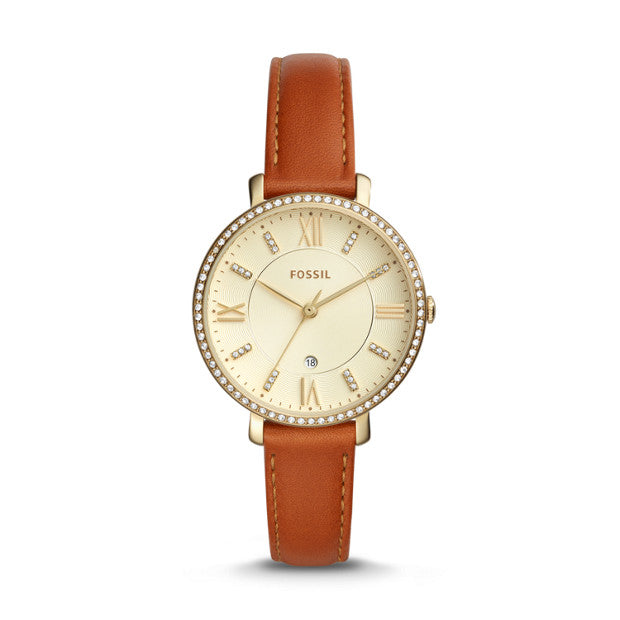 Fossil Es4293 Jacqueline Champagne Dial Brown Leather Watch
