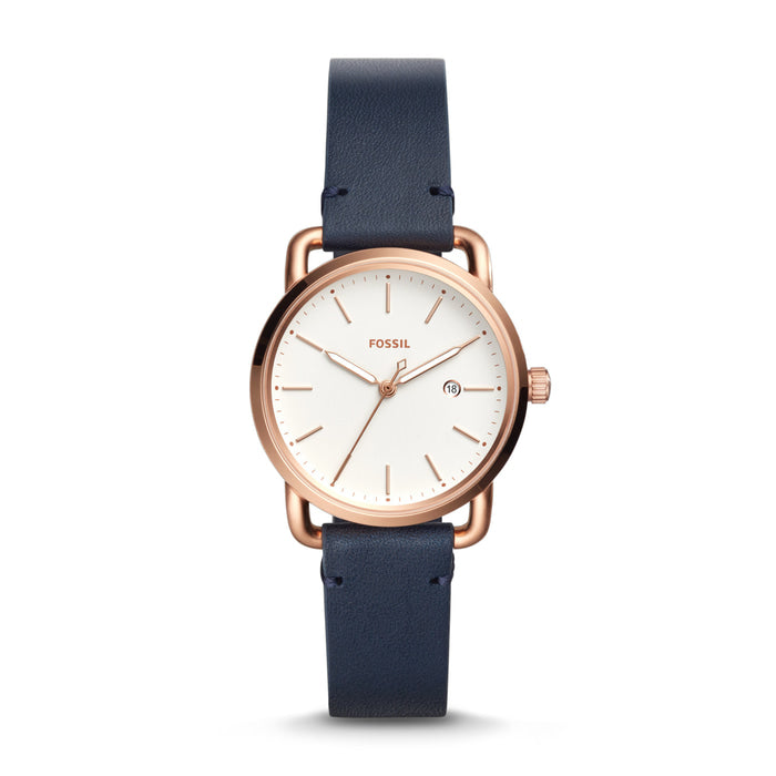 Fossil Es4334 The Commuter Ladies White Dial Navy Leather Strap