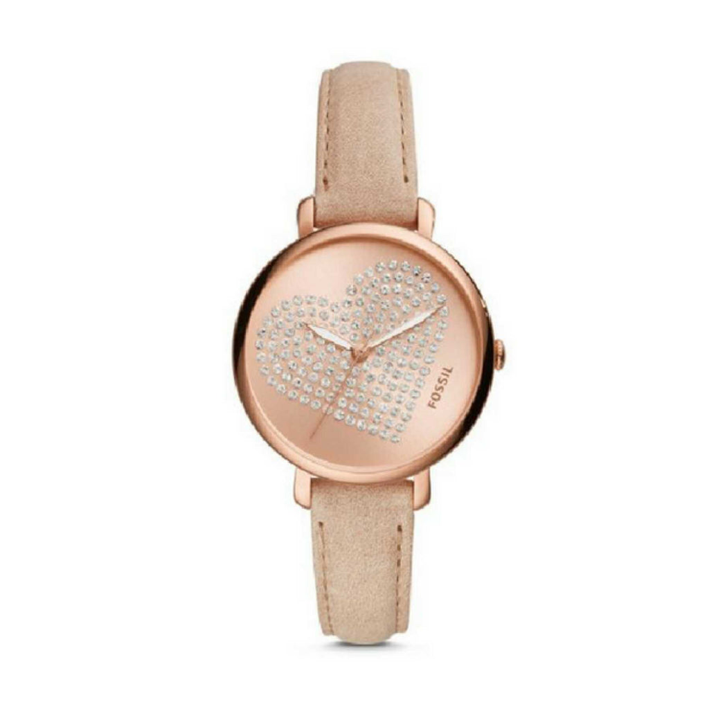 Fossil Es4376 Jacqueline Pastel Pink Rose Gold Leather