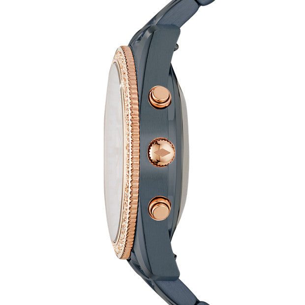Fossil FTW5017 Hybrid Smartwatch Q Scarlette Two Tone Blue-Rose Gold Watch