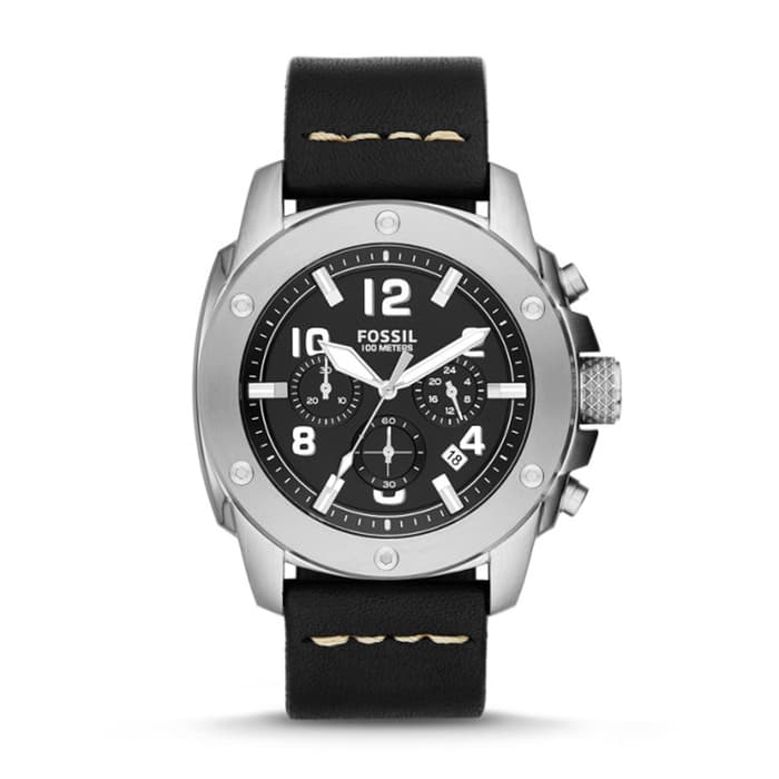 Fossil Fs4928 Machine Chronograph Black Dial Black Leather Watch