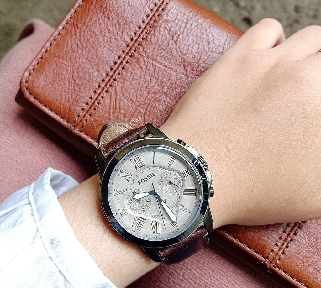Fossil Fs5214 Grant Chronograph Dark Brown Leather Watch