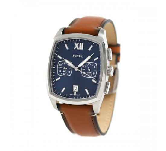 Fossil Fs5354 Knox Dual Time Blue Dial Brown