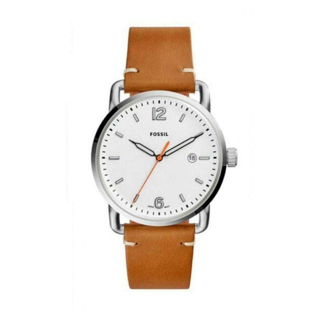 Fossil Fs5395 Commuter Brown Leather Band White Watch