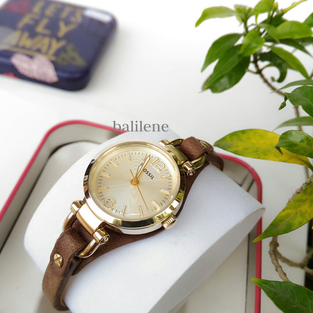 Jam Tangan Fossil Es3264 Georgia Mini Brown Leather Watch Balilene Wanita Original Champagne Dial Strap