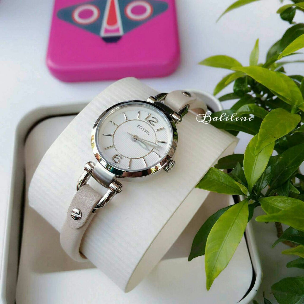 Fossil Es3808 Georgia Mini White Leather Watch