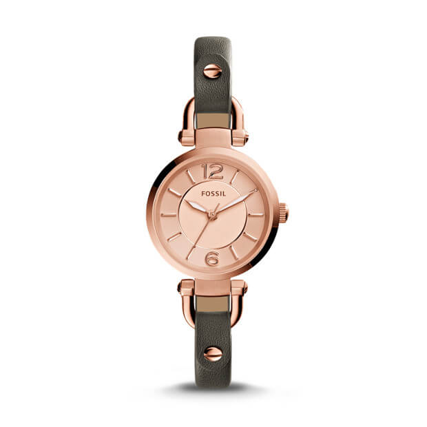 Fossil Es3862 Georgia Rose Dial Grey Leather Ladies Watch