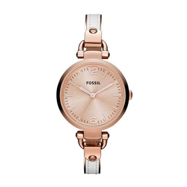 Fossil ES3261 Georgia White Leather and Rose Gold-tone Stainless Steel Watch