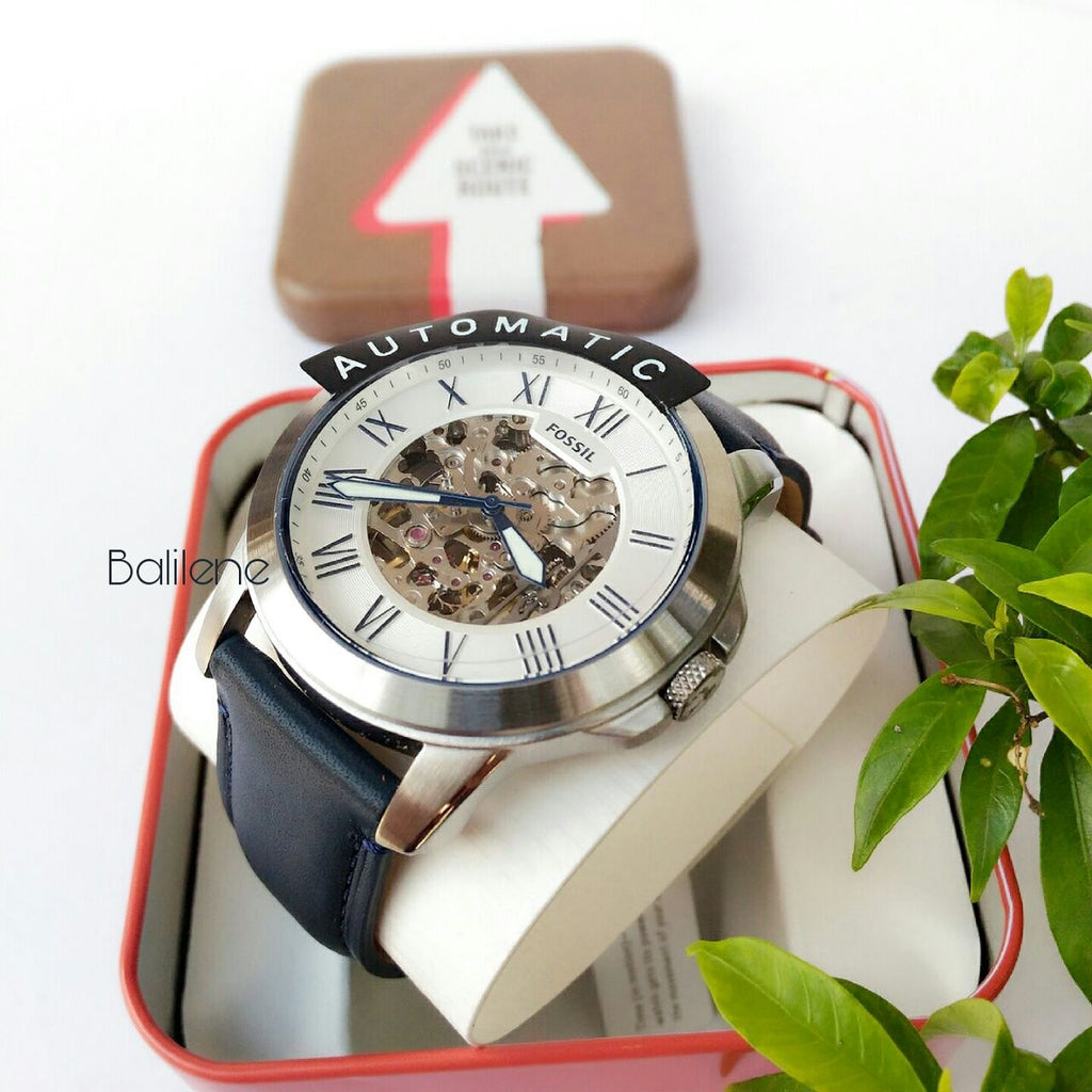 Jam Tangan Fossil Me3111 Grant Automatic Navy Leather Watch Balilene Wanita Original Es3264