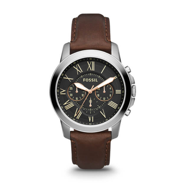 Fossil FS4813 Grant Chronograph Black Dial Brown Leather Watch
