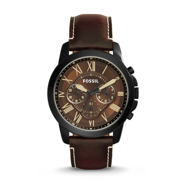 Fossil Fs5088 Grant Dark Brown Chronograph Leather Watch