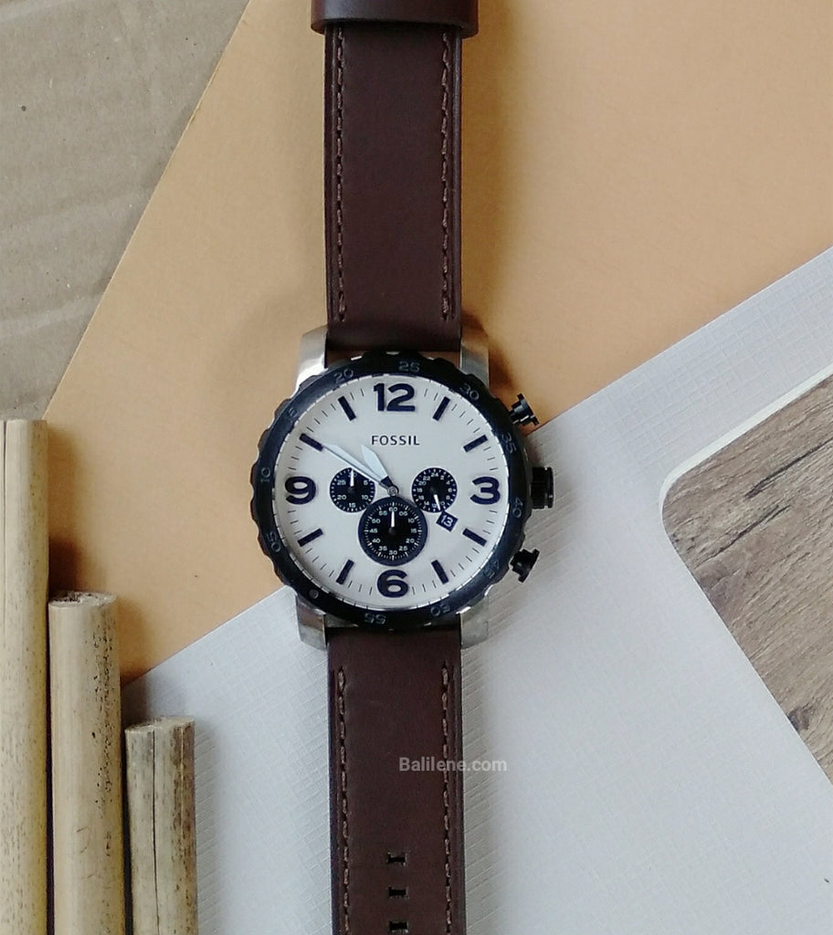 Fossil Jr1390  Nate Chronograph Brown Leather Strap Watch