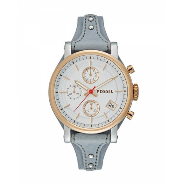 Fossil Ladies Original Boyfriend Chronograph White Dial Iron Es4045