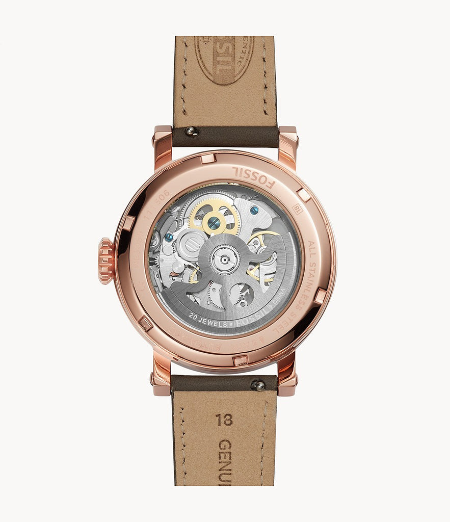Fossil ME3089 Men Original Boyfriend Automatic Gray Skeleton Dial Gray Leather Strap