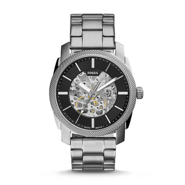 Fossil ME3114 Machine Black Dial Stainless Steel Automatic Watch