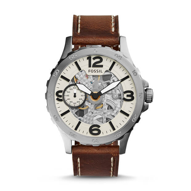 Fossil ME3128 Nate Cream Skeleton Dial Brown Mechanical