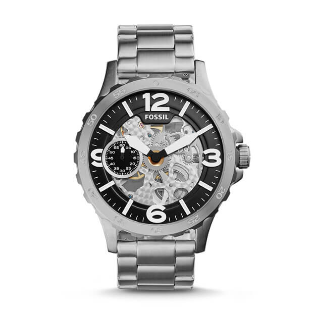Fossil Nate Hand Wound Mechanical Silver Watch