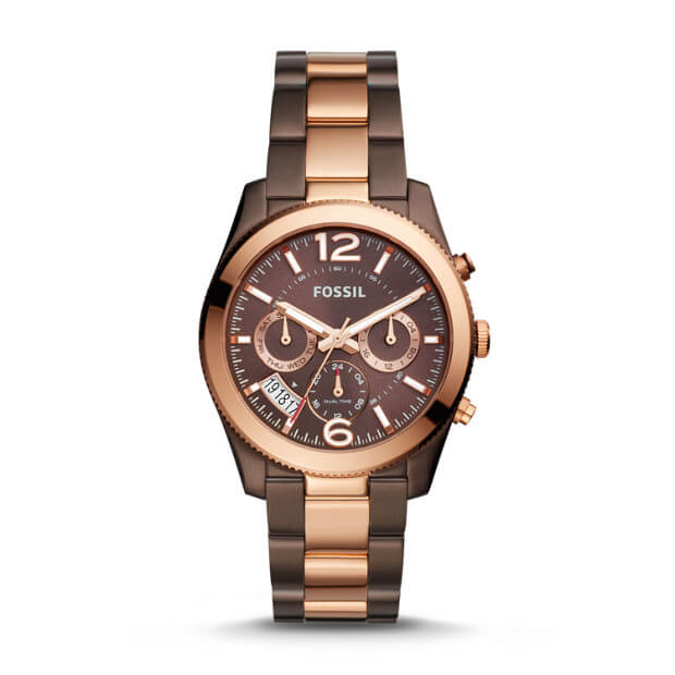 Fossil Es4284 Perfect Boyfriend Ladies Brown Dial Dual Tone