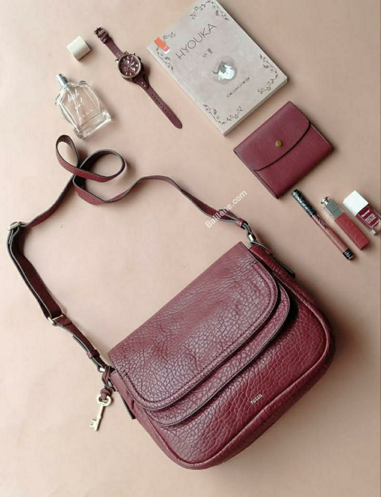 Fossil Peyton Large Double Flap Wine
