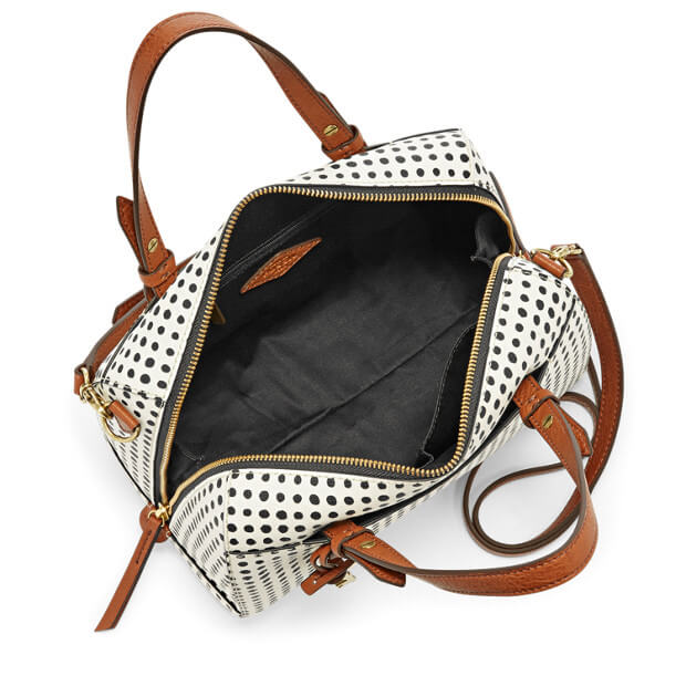 Fossil Zb7314125 Rachel Satchel White Black Dots Bag