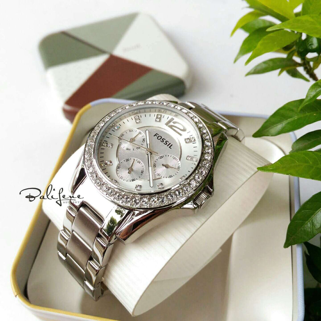 Fossil ES3202 Riley Multifunction Silver Stainless Steel foto asli