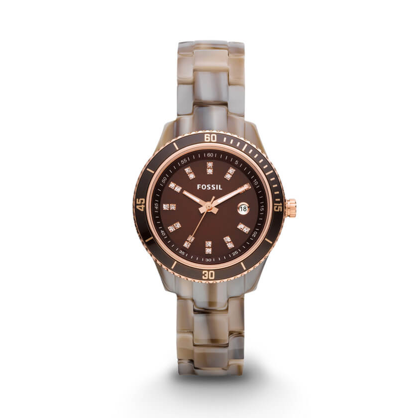 Fossil Stella Women Brown Dial Resin Band Watch