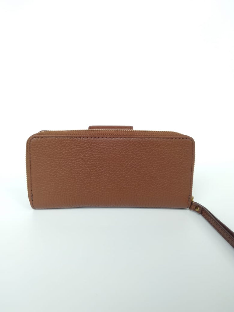 Fossil Swl1575210 Madison Leather Zip Clutch Medium Brown