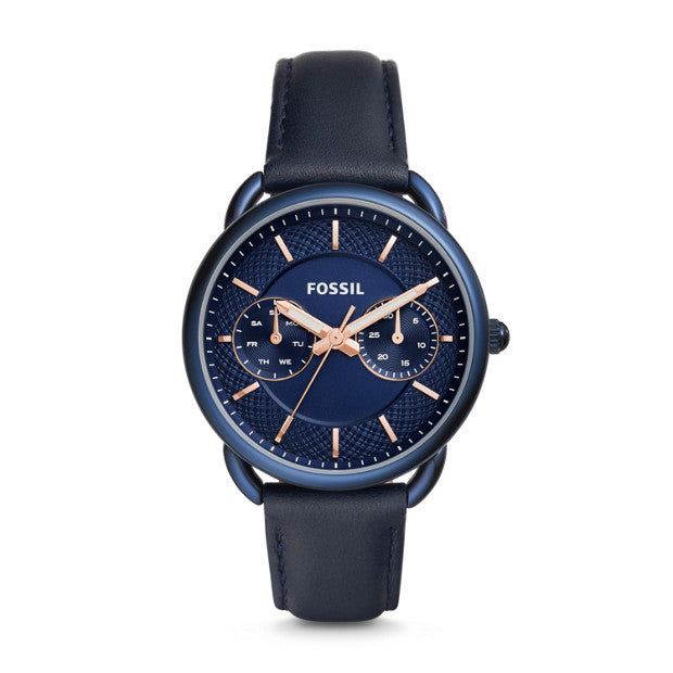 Fossil Es4092 Tailor Multifunction Blue Leather Watch
