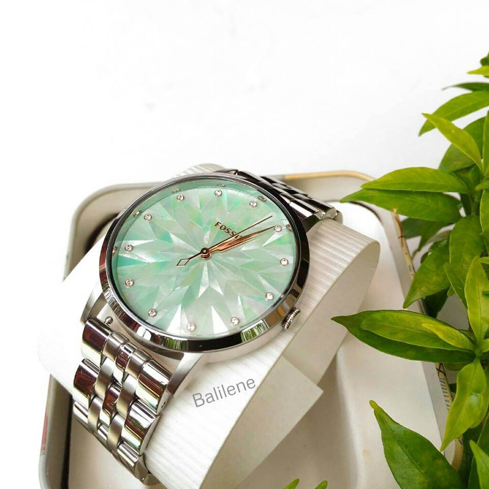 Fossil Vintage Muse Stainless Steel Green Dial Mother Of Pearl