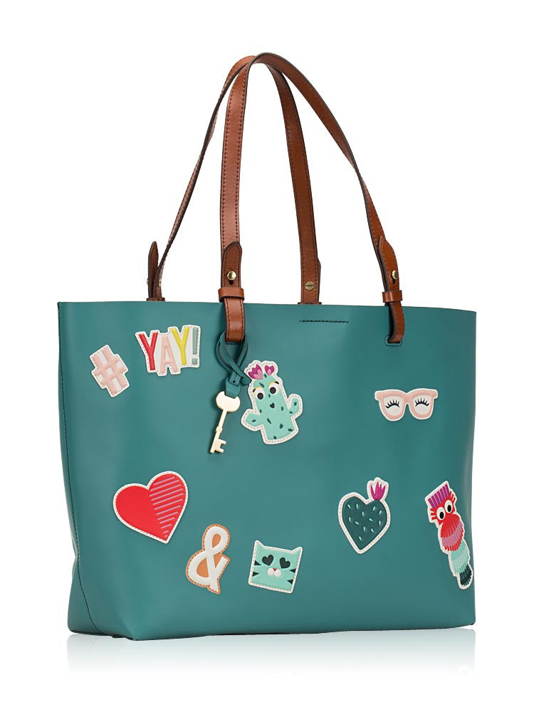 Fossil Zb7250320 Rachel Tote Sticker Teal Green