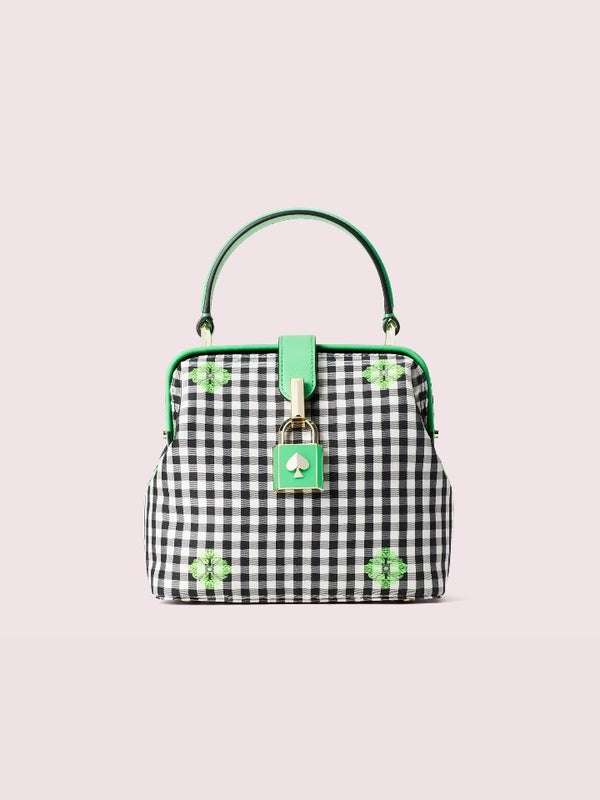 Kate Spade Pxrub372 Remedy Gingham Small Top Handle Green Multi