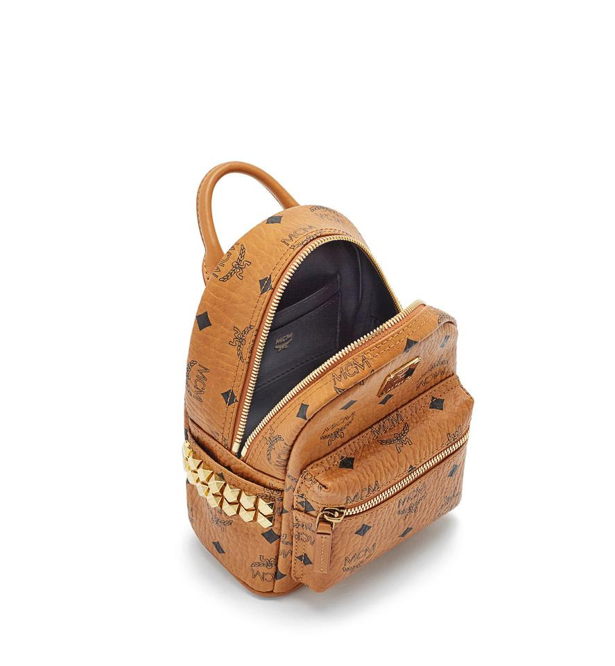 MCM Stark Side Studs Bebe Boo Backpack in Visetos Cognac