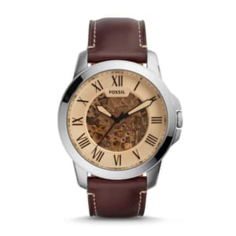 Fossil Me3122 Grant Automatic Chronograph Dark Brown Leather Watch