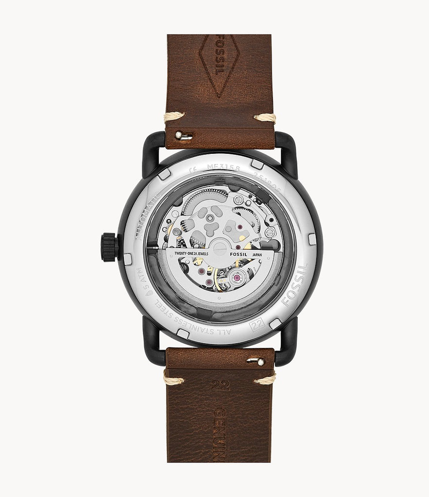 Fossil Me3158 Commuter Automatic Brown Leather Watch