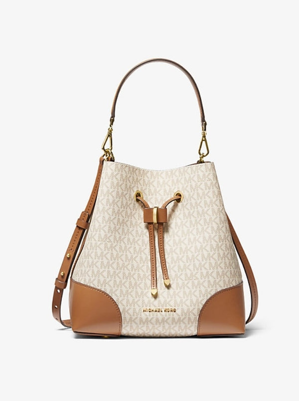 Michael Kors 30f9gz5l6b Mercer Galery Medium Bucket Shoulder Bag Vanilla
