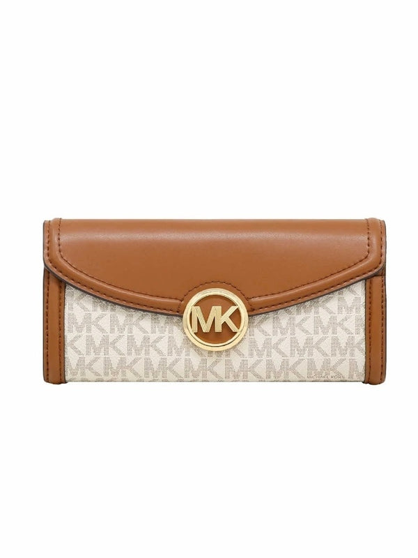 Michael Kors 35F9GFTE3B Fulton Large Flap Continental Wallet In Vanilla