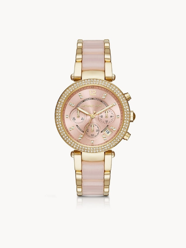 Michael Kors Mk6326 Womens Parker Chronograph Pink Acetate And Gold-Tone Stainless Steel Watch