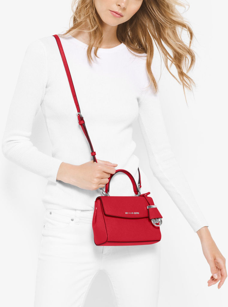 Michael Kors 32f5savc1l Ava Extra-small Saffiano Leather Crossbody Bright Red