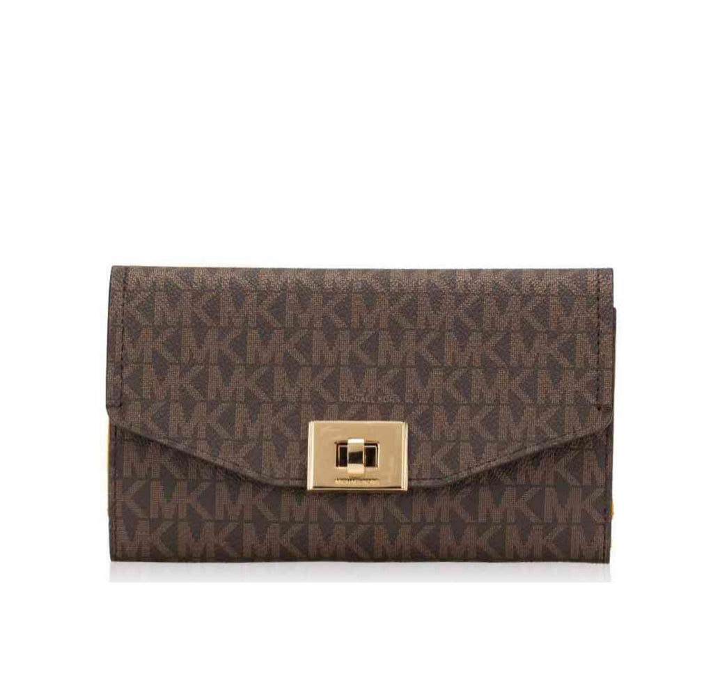 Michael Kors Cassie Monogram Large Trifold Brown Marigold