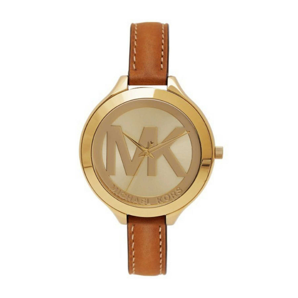 459cc2cf37a2 Michael Kors Mk2326 Slim Runway Champagne Dial Brown Leather Watch ...