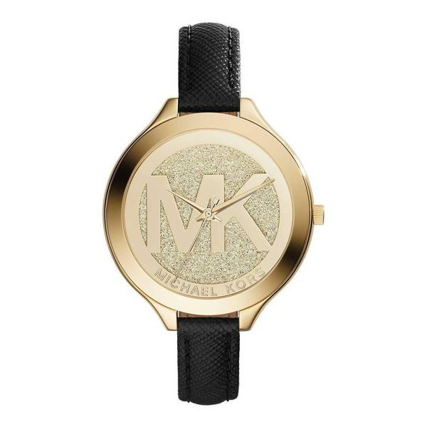 Michael Kors Mk2392 Slim Runway Gold Black Leather Watch