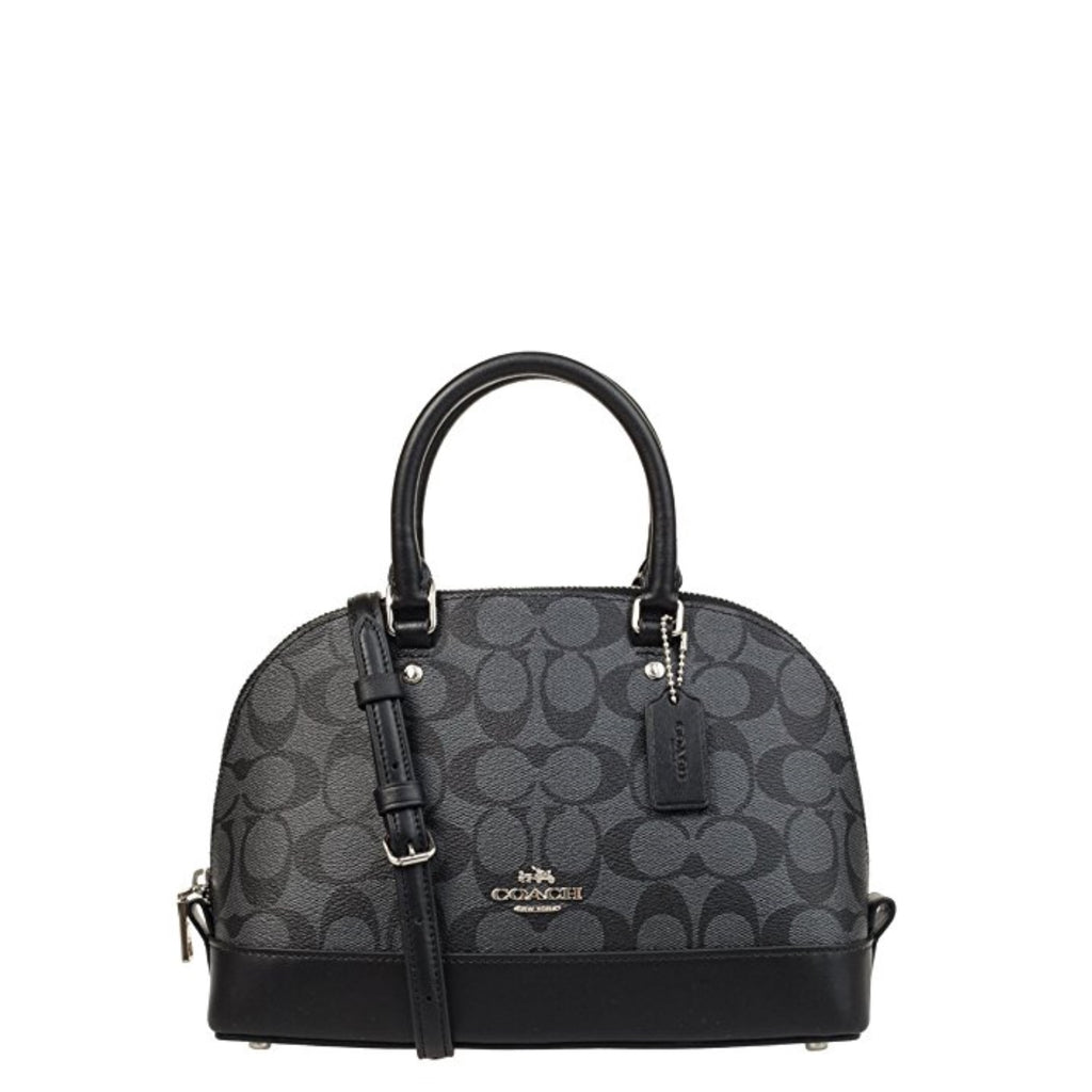 Coach F58295 Mini Sierra Signature Pvc Satchel Crossbody Bag Black Smoke